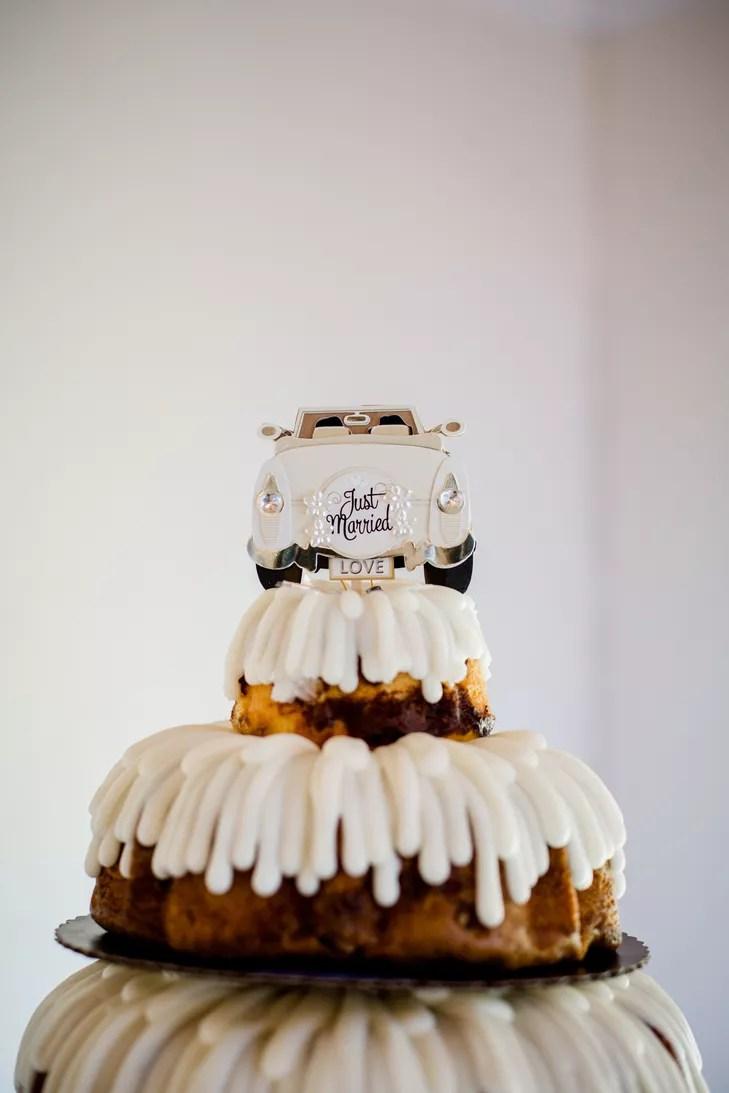 Bundt Cake Wedding Cake With Vintage Car Topper