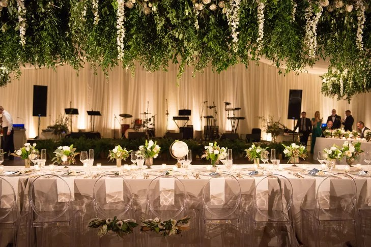 greenery and flowers hanging