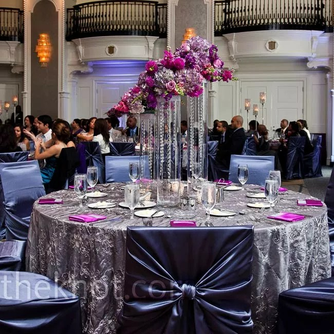 metal chair covers wedding swivel dance silver and purple decor textured linens gun complemented the room s existing kept