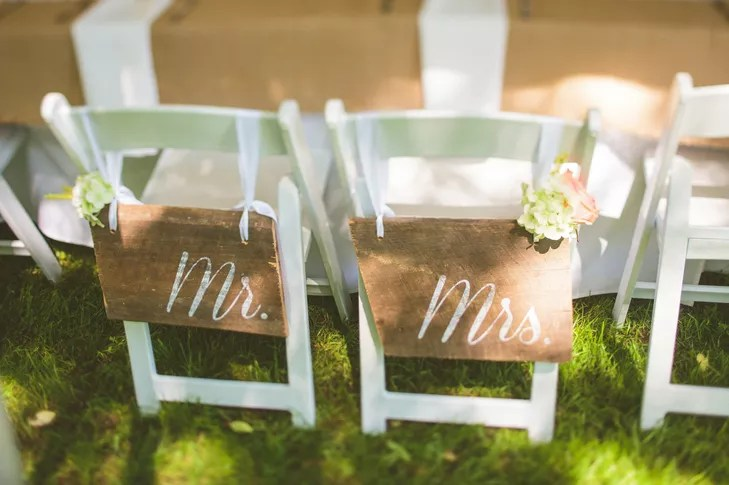 mr and mrs chair signs hanging vancouver wooden slabs of wood labeled hung on the