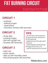 Try to do this fat-burning circuit from Fab Fit Cities 2 or 3 times a week and you'll burn fat and tone your muscles which is the perfect recipe for melting away inches!