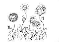 Doodle art flowers t...