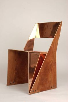 Tlf01 Plywood and Copper Stackable Chair by Tobias Labarque