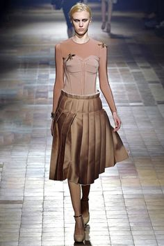 Nude pleated skirt knee length A/W '13 Lanvin