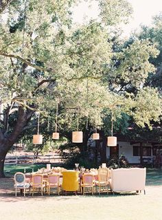 wedding receptions - mix and match vintage chairs for all seating or head table. Cylinder lights from above