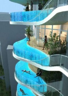 Zwembalkons in Mumbai. Every room has its own pool. Awesome!