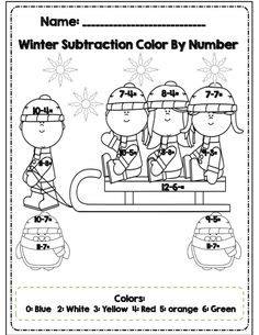Color by number page, part of 30 page Winter math and ELA