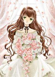 anime brown hair manga princess eyes wavy pink flower fille royal flowers rose bouquet memory artist shiitake gren belle scandal