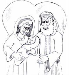 Abraham And Sarah Baby Isaac Coloring Page Sketch Coloring