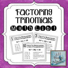 Factoring Trinomials With A Gt 1 Math Lib Activity New