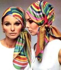 Colourful gypsy headscarves, 1970s