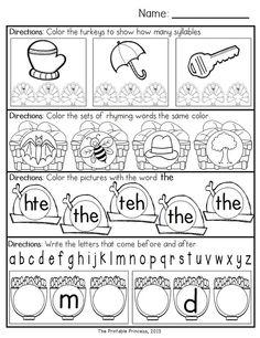 November morning work for Kindergarten. Common Core