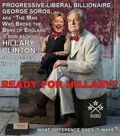 Image result for george soros evil with Hillary Clinton