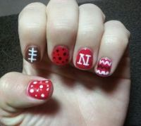 husker nails on Pinterest | Football Nails, Red Black ...