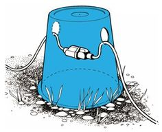 Keeping a power cord connection from laying in the water using a bucket