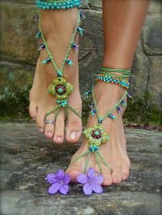 PISTACHIO BAREFOOT sandals green SANDALS crochet beaded beach wedding bohemian gypsy shoes photo shoot props made to order. $68.00, via Etsy.