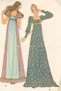 Vintage Romantic Long Dress Pattern BOHO Prairie Princess.