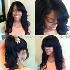 burgandy sew in weave dark brown hairs