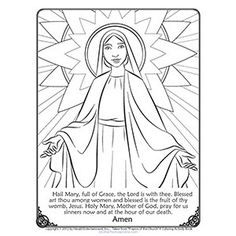 Ave Maria Hail Mary Prayer Sketch Coloring Page