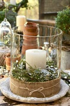 burlap candle centerpiece #burlap #wedding