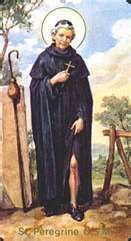 St. Peregrine, an anti-Catholic, had a conversion as a young man. After experiencing a vision from Mary, he became a priest. He lived and worked, as much as possible, in silence, solitude, and without sitting down for 30 years in  attempt to do penance for his early life. A victim of a spreading cancer in his foot, he was scheduled for amputation. He spent the night before in prayer; he received a vision of Christ who touched the diseased area. The next morning, his cancer was completely healed.