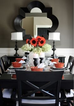 home decor, home design, red, dining room, mix, color