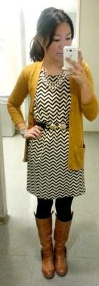 Chevron dress, mustard cardigan, brown boots // Love at First Shop