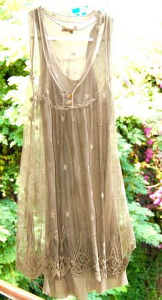 Babydoll Lace Mesh Taupe Layered Tank Tunic Dress