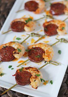Brochettes de crevettes et Chorizo