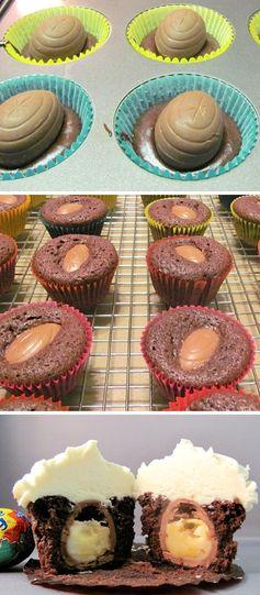 Cadbury Egg Filled Cupcakes. #ILoveCupcakes #cupcakes #baking