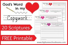 God's Word in My Heart FREE Printable Copywork