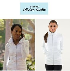 """On the blog: Olivia Pope's (Kerry Washington) white & grey striped workout jacket 