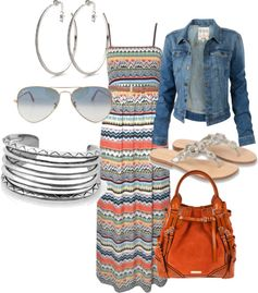 Very cute maxi dress...love it paired with the denim jacket.