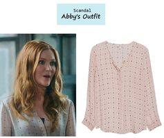 "On the blog: Abby's (Darby Stanchfield) polka dot silk blouse | Scandal - ""Mrs. Smith Goes to Washington"" (Ep. 303) #tvstyle #tvfashion #outfits #fashion"