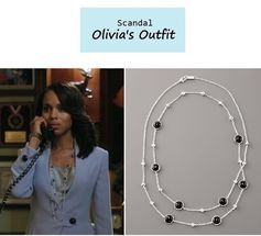 "On the blog: Olivia Pope's (Kerry Washington) onyx & sterling silver strand necklace | Scandal - ""Mrs. Smith Goes to Washington"" (Ep. 303) #tvstyle #tvfashion #fashion #jewelry"