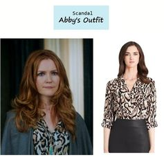 """On the blog: Abby Whelan's (Darby Stanchfield) animal print leopard blouse 
