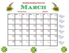 Free Printable Reading Chart Calendar for March 2014