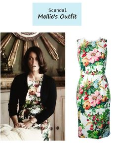 "On the blog: Mellie's (Bellamy Young) floral sheath dress | Scandal - ""Everything's Coming Up Mellie"" (Ep. 307) #tvstyle #tvfashion #outfits #fashion"