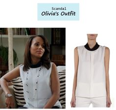 "On the blog: Olivia  Pope's (Kerry Washington) contrast mock neck sleeveless blouse | Scandal - ""Vermont is for Lovers, Too"" (Ep. 308) #tvstyle #tvfashion #outfits #fashion #gladiators"