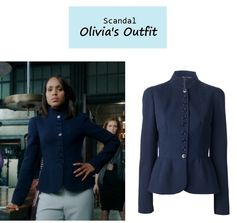 """On the blog: Olivia Pope's (Kerry Washington) navy fitted military jacket with peplum detail 