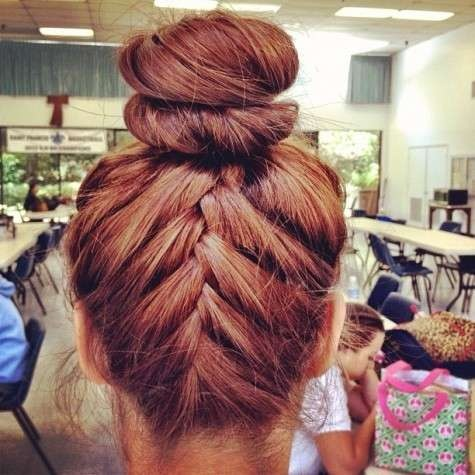 upside down french braid into top knot