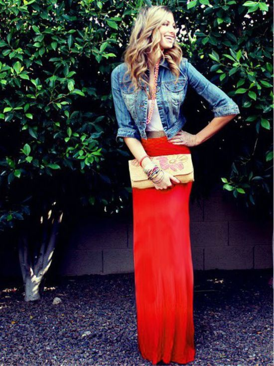 Red Maxi Skirt 2