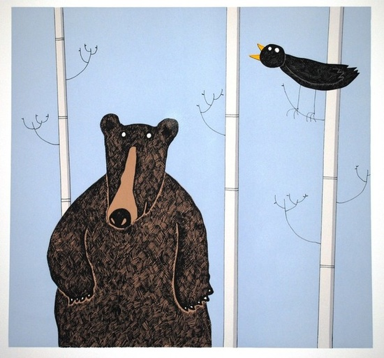 Bear and Blackbird screen print 44.5cm x 42cm Lucy Gell