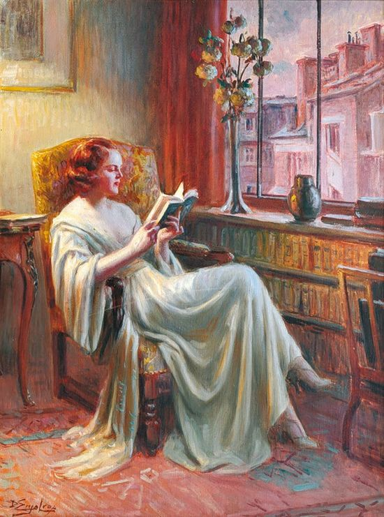 "Delphin Enjolras (May 13, 1857–1945) was a French academic painter. Enjolras painted portraits, nudes, interiors, and used mostly watercolours, oil and pastels. He is best known for his intimate portraits of young women performing mundane activities such as reading or sewing, often by illuminated by lamplight. Perhaps his most famous work is the ""Young Woman Reading by a Window"""