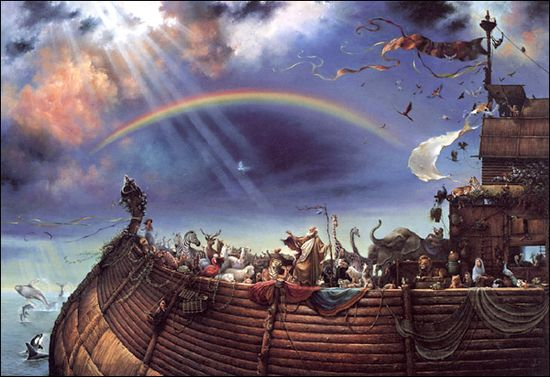noah's ark painting -  I have always wanted this painting.  I saw it at my grandmothers retirement home once and fell in love with it.  Hard to tell, but very detailed.