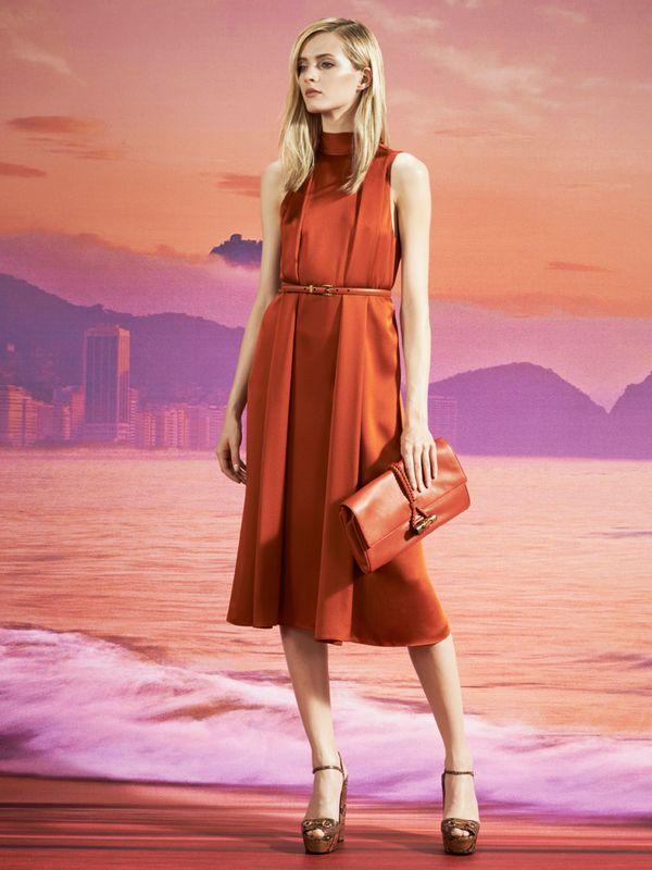 Gucci Resort 2014 orange pleated dress