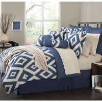 16 Piece Comforter Set Durham Navy Blue Soutwest ensemble