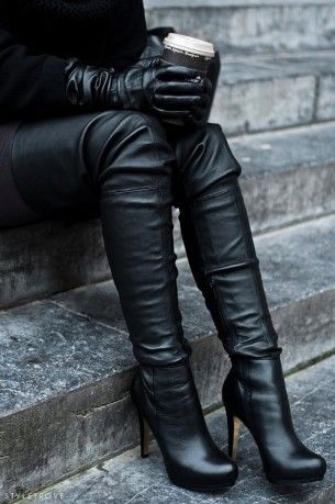 If you're looking to make a dramatic statement this season, look no further than thigh-high black leather boots. Ultimate wow factor!