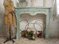 Vintage Painted Cottage Aqua Chic French Fireplace Mantel