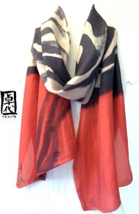 Large Silk Scarf Hand Painted, Red Silk Scarf, Zen Wave